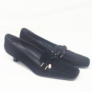 STUART WEITZMAN | Black Suede Kitten Heel Loafer